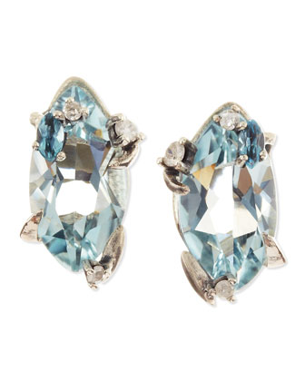 Midnight Marquise Blue Quartz Stud Earrings with Topaz & Diamonds