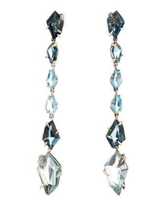 Midnight Marquise Earrings with London Blue Topaz & Quartz with Pave ...