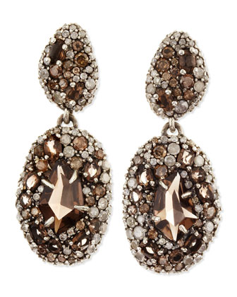 Smoky Gold Marquise 2-Drop Earrings, Pave Diamonds & Smoky Quartz