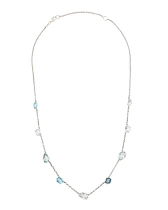 Midnight Marquise Blue Stone Station Necklace, 18