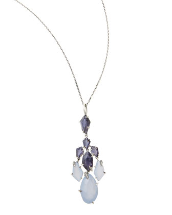 Mystic Marquise Iolite & Chalcedony Pendant Necklace with Diamonds