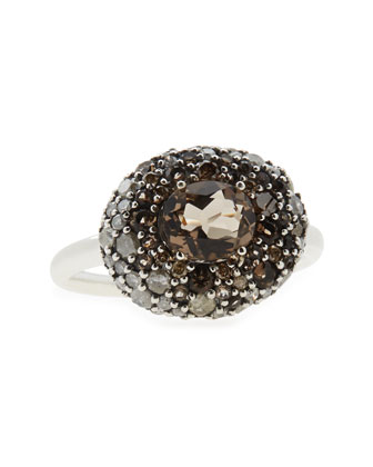 Smoky Gold Marquise Pebble Ring with Smoky Quartz & Diamonds