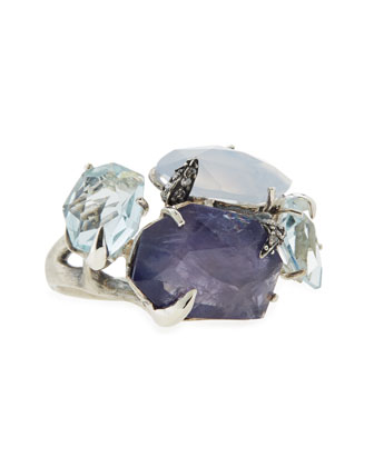 Mystic Marquise Chalcedony/Iolite/Quartz Ring with Diamonds