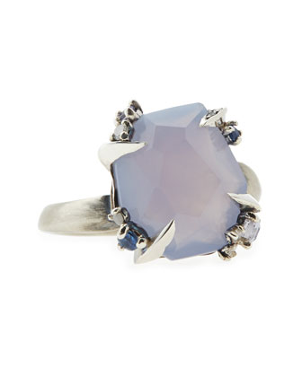 Lavender Chalcedony Ring with Claw Sapphires & Diamonds