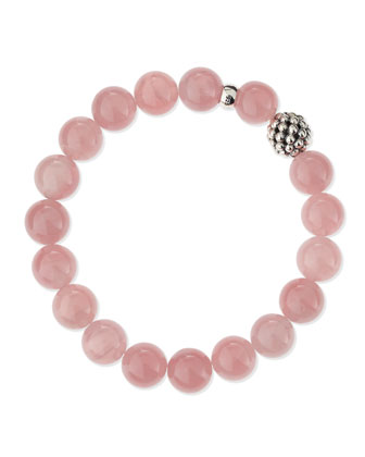 10mm Caviar-Ball Star Rose Quartz Beaded Stretch Bracelet