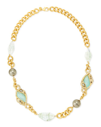 Single-Strand Multi-Stone Golden Chain-Link Necklace