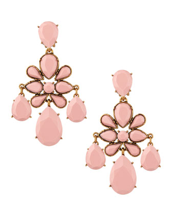 Faceted Chandelier Clip-On Earrings, Blush