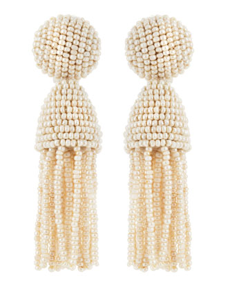 Beaded Short Tassel Clip-On Earrings, Optic White
