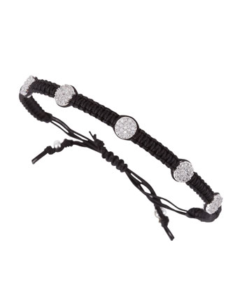 Pave Nailhead Studded Braided Bracelet, Black