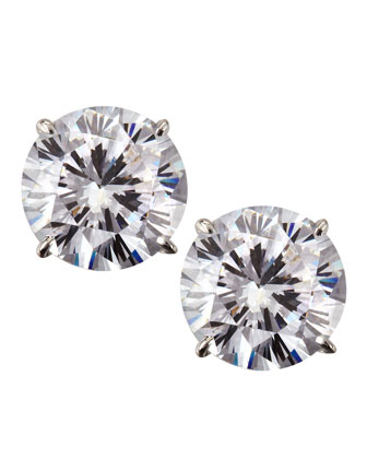 14k White Gold Cubic Zirconia Stud Earrings, 5.0 TCW