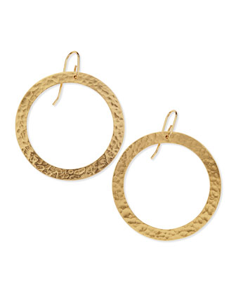 Paris Large 24k Gold-Plated Single Round Earrings