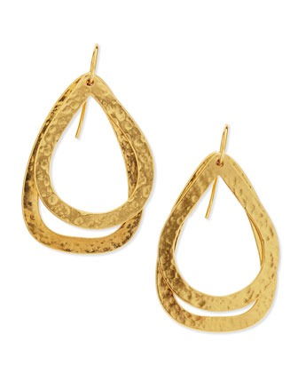 Paris Small 24k-Gold Plated Double Teardrop Earrings
