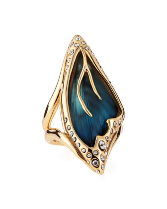 Pave Crystal Butterfly Wing Ring, Azure