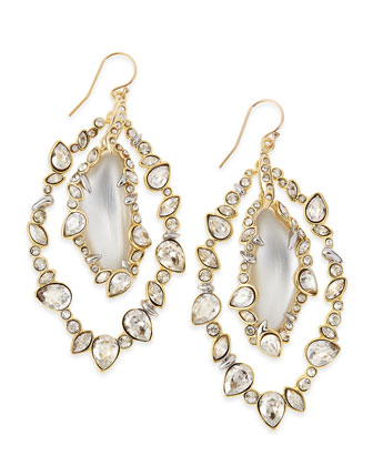 Jagged-Edge Crystal-Orbit Lucite Earrings, Gray