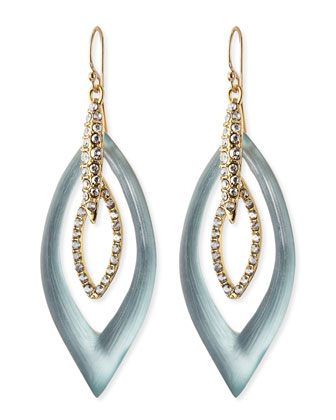 Pave Crystal Marquise Orbital Earrings, Gray/Blue