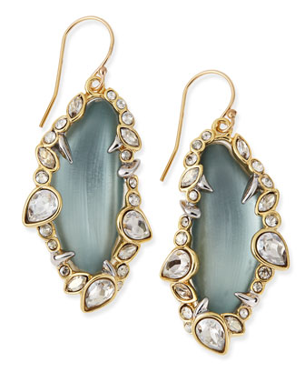 Jagged-Edge Crystal-Framed Lucite Earrings, Gray/Blue