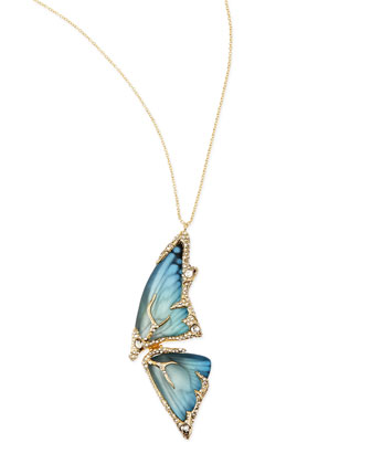 Pave Crystal Butterfly Wing Pendant Necklace, Azure