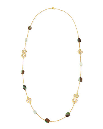 Green & Crystal-Studded Scallop-Station Necklace, 42