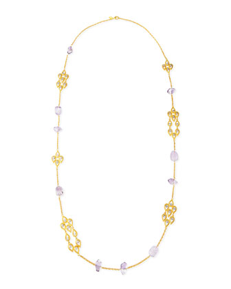 Pink Amethyst & Crystal-Studded Scallop-Station Necklace, 42