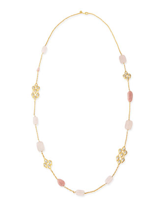 Pink Stone & Crystal-Studded Scallop-Station Necklace, 42