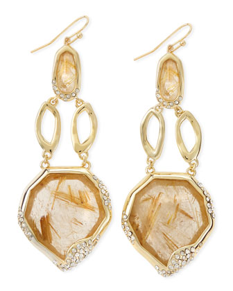 Golden Rutilated Quartz Drop Earrings