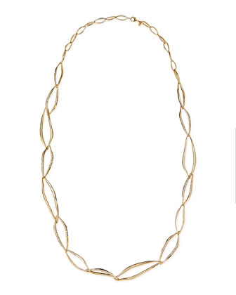 Pave Crystal Organic Link Necklace, 42