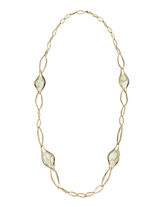 Golden Link Necklace with Aqua Green Crackle Glass, 42