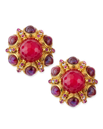 Pink Crystal-Cluster Button Clip-On Earrings