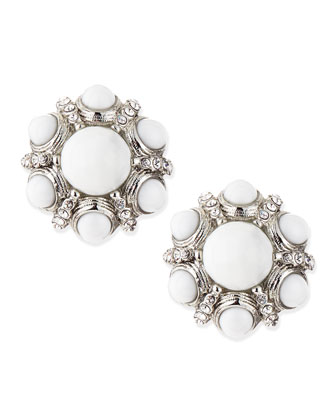 White Crystal-Cluster Button Clip-On Earrings