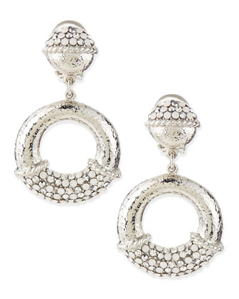 Silver-Dotted Hoop Earrings