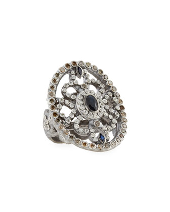 Large Oval Silver Shield Ring with Sapphire & Diamonds