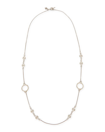 Circle Scroll Champagne Diamond Link Necklace