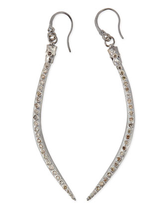 Curved Horn Earrings with Champagne Diamonds