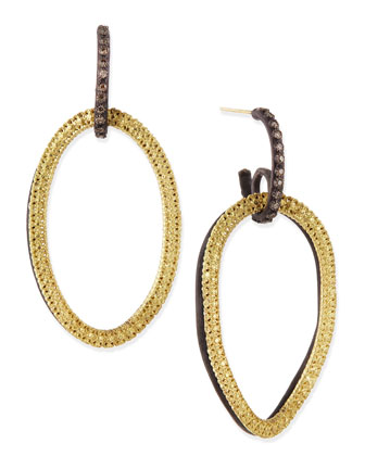 Midnight & Yellow Gold Circle Link Drop Earrings with Diamonds