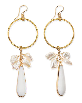 Hoop Earrings with Pearls & White Jade