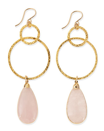 Rose Quartz Hoop Drop Earrings