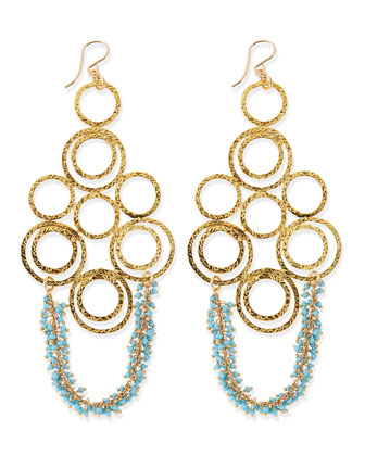 Hammered Link Earrings with Turquoise Beads