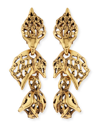 Golden Carved Rose Earrings