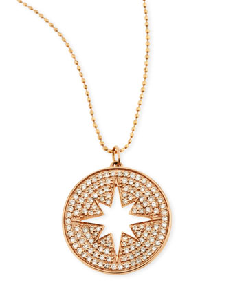 14k Rose Gold Diamond Starburst Medallion Necklace