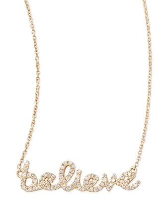 14k Yellow Gold Diamond Believe Necklace