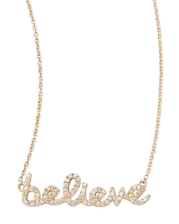 14k Yellow Gold Diamond Believe Necklace   Sydney Evan   Yellow (14k )
