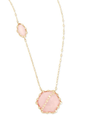 14k Pink Opal Station Necklace