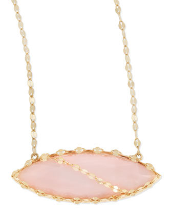 14k Pink Opal Marquise Necklace