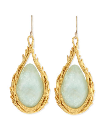 Maldivian Amazonite Feather Drop Earrings