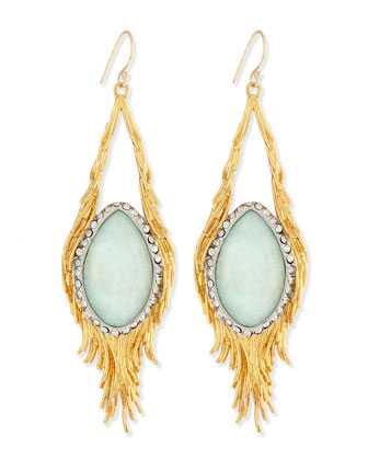Maldivian Aqua Crystal Feather Earrings