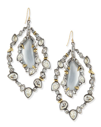 Jardin de Mystere Jagged Crystal Orbit Earrings with Silver Lucite