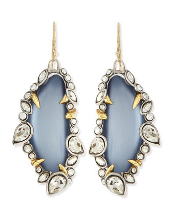 Jardin de Mystere Jagged Crystal Dangle Earrings, Steel Blue