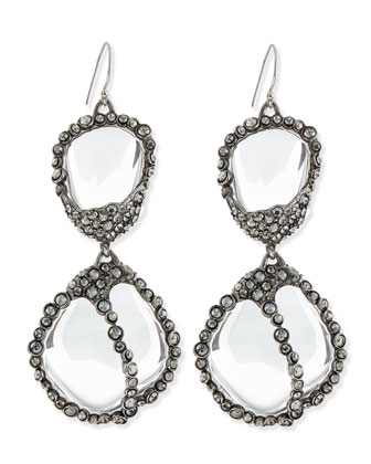 Jardin de Mystere Clear Crystal Pebble Dangle Earrings