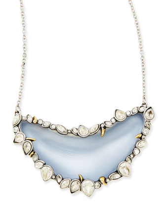 Jardin de Mystere Crystal-Framed Lucite Crescent Necklace, Blue