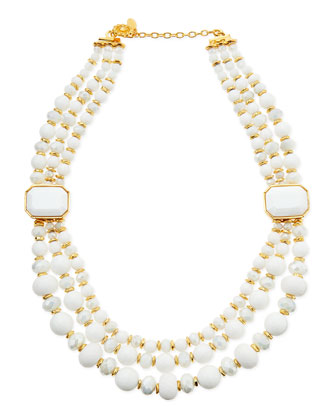 Triple-Strand White Beaded Necklace